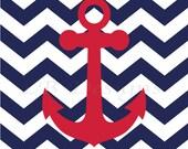 Navy Blue and Red Nursery, Anchor Nursery Print, Nautical Nursery Decor, Boy's Nautical Bedroom Art, Whale Nursery Art, Anchor Print - 8x10