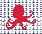 Red Octopus Art, Nautical Nursery Print, Nautical Bedroom Decor - 8x10