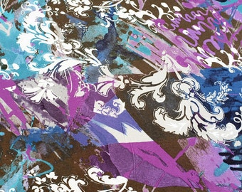 Abstract scrolls, purple, teal, brown, rayon/lycra knit, by the yard.