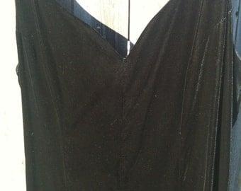 Vintage Long Black Velvet Formal Dress