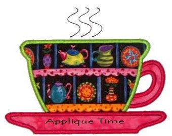 Instant Download Tea Cup Machine Embroidery Applique Design 4x4, 5x7 and 6x10