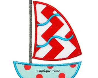 Instant Download Sailboat 2 Machine Embroidery Applique Design 4x4, 5x7 and 6x10