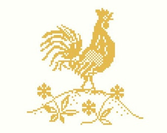 Golden Rooster Cross Stitch Pattern PDF