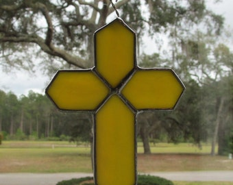 Yellow Stained Glass - Yellow Swirl Opalescent Stained Glass Cross  - Hostess Gifts, Teacher Gifts,