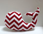Red and white chevron WHALE pillow - nautical baby nursery decor plushie - modern shower
