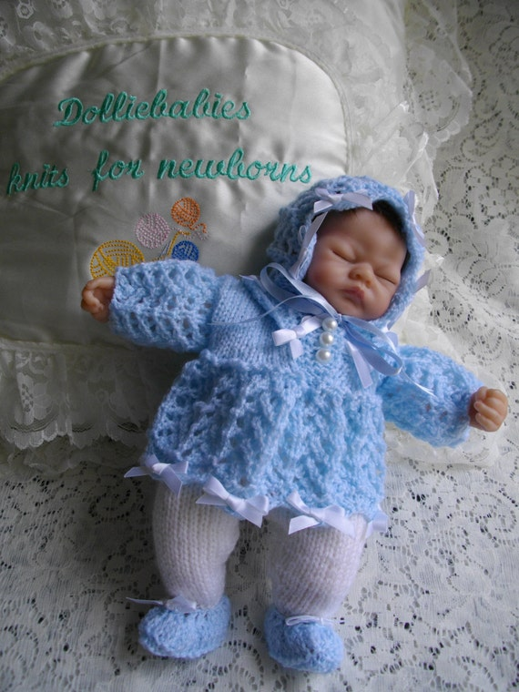 Micro Preemie Knitting Patterns : Knitting PATTERN No.27 Micro Preemie 10 Height Dress Set