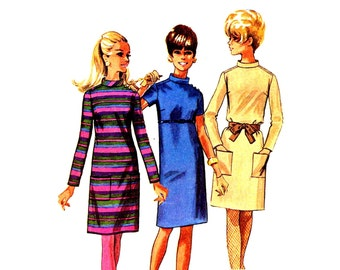 1960s Straight Dress Pattern Stand Up Collar Long or Short Sleeve Dress Simplicity 7346 Bust 31 Sewing Pattern Vintage