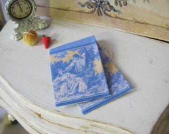Blue Toile Border Kitchen Towel for Dollhouse, 1:12 scale Miniature