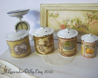 Provincial Kitchen Canisters for Dollhouse 1/12 Scale