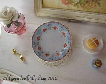 Blue Garden Plate for Dollhouse