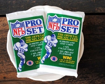 "1990 NFL Football Card Trading Cards, ""Pro Set"" Two Unopened Packs, 28 Count Total"