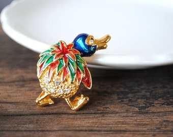 Vintage Platypus Pin Figural Brooch, Quirky Crystal Duck Billed Enameled Gold Costume Jewelry