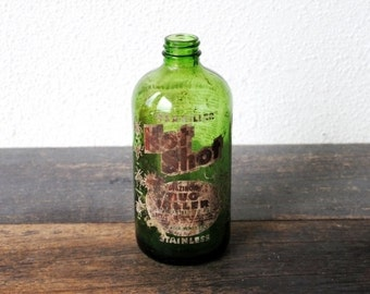 Vintage Industrial Green Glass Bottle, Chemical Poison Insect Repellent Rare Old Duraglas One Pint, Memphis TN