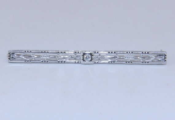 SALE Art Deco Antique Filigree 14K White Gold Unique Diamond Brooch Pin Circa 1920