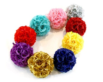 "6"" Silk Rose Kissing Pomander Balls for Wedding Reception Decor and Party Decorations"