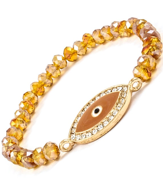 Amber Evil Eye Amulet Beaded Bracelet Keep Evil Spirits Away
