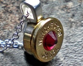 38 Special Winchester Brass Bullet Pendant Your Choice of Birthstone Swarovski Crystal