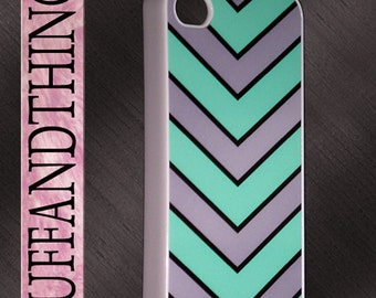 iPhone 4 iphone 4S Colorful Mint Green Chevron Print Design Case iPhone 4 Cover