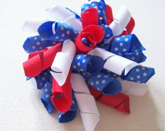 Red, White, Blue Polka-Dot Korker Bow Hair Clip, Mini Korker, Large Korker