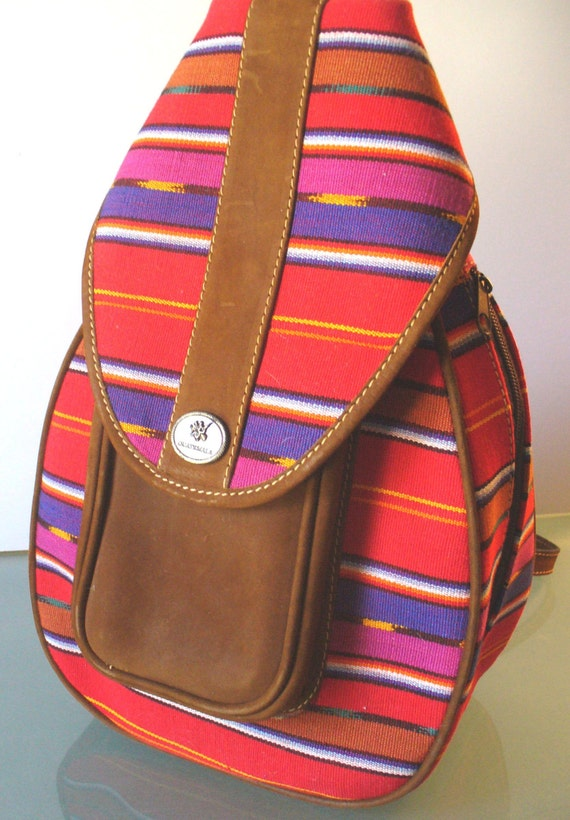 Guatemalan Fabric & Leather BackPack Style Purse