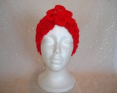 Crocheted Headband, Headwrap, Ear Warmer in bright red with removable flower