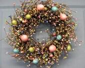 LAST ONE!! Easter Wreaths - Spring Wreath - Easter Eggs - Easter Egg Wreath - Easter Decor - Primitive Pastel Egg Wreaths - Primitive Decor