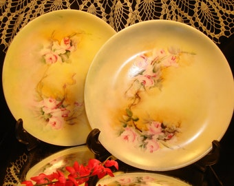 HUTSCHENREUTHER SELB, set of 2, Hand Painted, Pastels and Flowers, Shabby Chic, 1900s, Easter