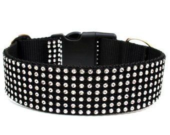 "Rhinestone Dog Collar 1.5"" Black Dog Collar"