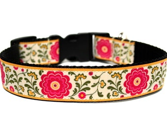 "Flower Dog Collar 1"" Side Release Pink Green Yellow Matching Flower Add-on Available"
