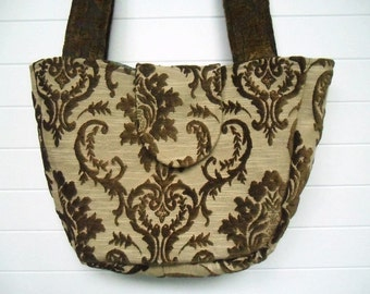 Bohemian Gypsy Bag Purse Vintage Tobacco Brown Cut Velvet