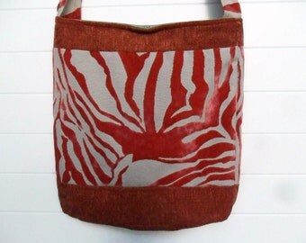 Hippie Bohemian Bag Purse Orange Rust Rose Bucket Bag