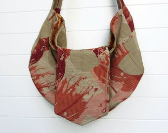 Hippie Bohemian Bag Purse Slouchy Hobo Coral Red Orange
