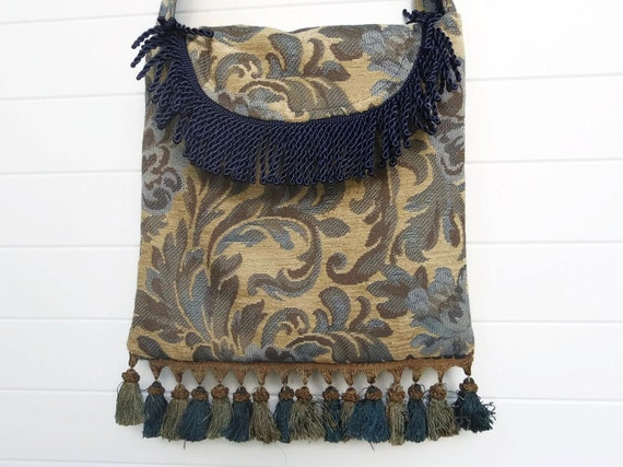 Victorian Bohemian Bag Purse Blue Floral Fringe