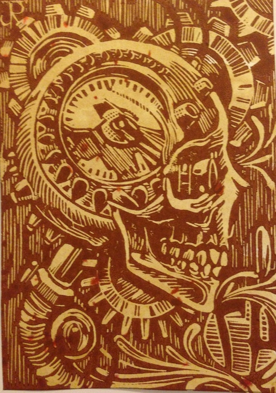 Items similar to hand carved linoleum block print