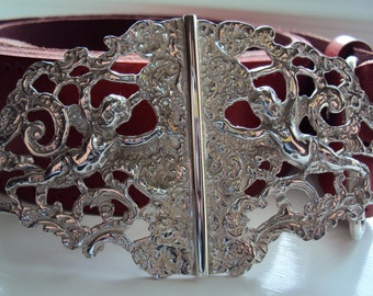 Stunning Edwardian Art Nouveau style ''Winged Cherubs'' Ladies Handcrafted Solid Sterling Silver new Belt Buckle.