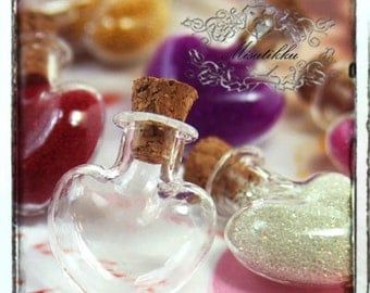Lot of 25-100 PCS Small Empty Glass Jars Heart Vials Tiny Bottles w Corks Scre Eye Hook Diy Jewelry Pendants Necklace Charms Making SP.LH