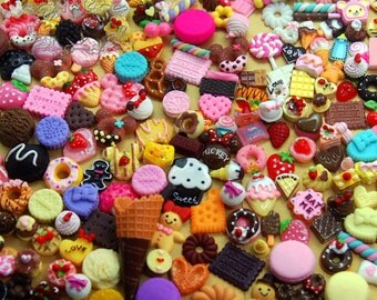 50 PCS Mixed Cabochons Sweets Decoden Kit mix Food Cabochon flat back Embellishments resin Assorted Miniature Cabochon  (Food Serious) AK.SW