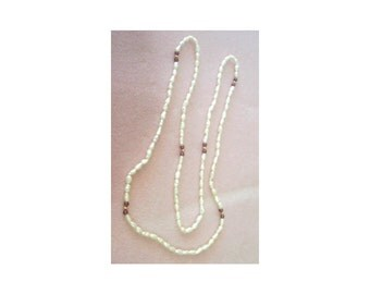 Natural Freshwater Pearl Necklace with Garnets - 34 Inches Long