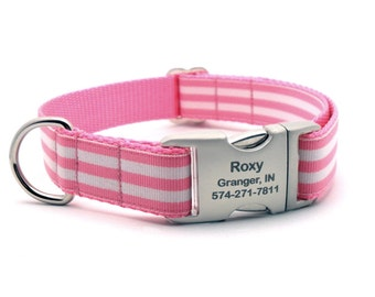Monarch Stripe Laser Engraved Buckle Personalized Dog Collar - PINK