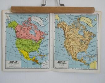 vintage north america map pair