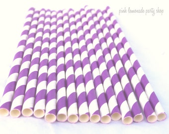Bright PURPLE & WHITE Stripes-- Paper Straws -- 25ct--with Free Printable Flags