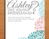Will You Be My Bridesmaid / Silver Floral Set of 3 Customized Printable Invitations /  DIY