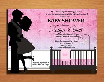 Kissing Couple Baby Girl /  Baby Shower Invitation Cards / PRINTABLE / DIY