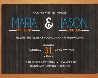 Rustic Woodgrain Typography Wedding Invitation PRINTABLE / DIY