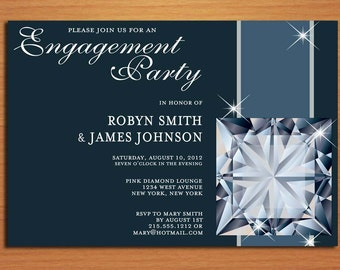 Sparkly Diamond / Classy Engagement Party Customized Printable Invitations /  DIY