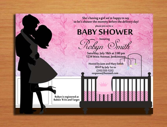 Baby Gifts For Couples : Kissing couple baby girl shower invitation cards