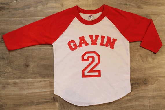 Items similar to birthday shirt kid 39 s personalized name for Custom raglan baseball shirt