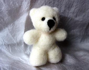 Needle Felted White  Bear , Ecofriendly, Handmade,