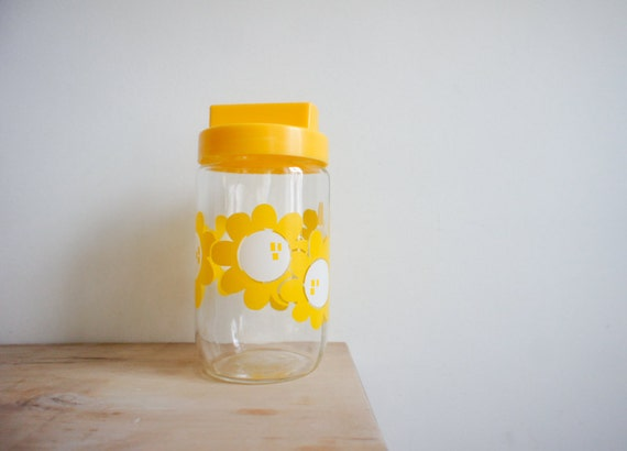 RESERVED  vintage french storage jar with lid made by Henkel France in bright sunshine yellow