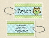 Personalized Backpack Name Tag or Luggage Name Tag - Owl - Quick Ship - more colors available